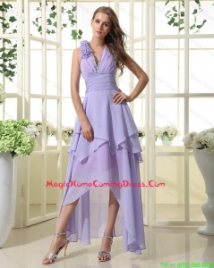 Pretty Empire V Neck Homecoming Dresses with High Low in Lavender
