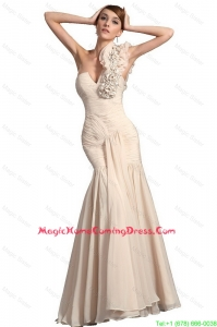 2016 Homecoming Champagne Mermaid Lovely Perfect Homecoming Gowns with Hand Made Flowers