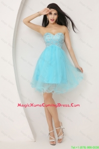 Beautiful Beaded Sweetheart Short Homecoming Gowns in Aqua Blue