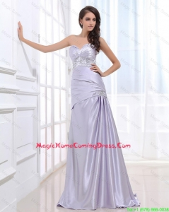 Beautiful Column Elastic Woven Satin Homecoming Dresses with Beading