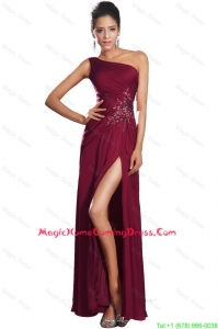 Beautiful High Slit Homecoming Gowns with Beading and Ruching
