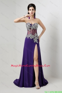 Beautiful Popular Brush Train Homecoming Dresses with Beading and High Slit