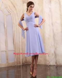Cheap 2015 Popular V Neck Tea Length Homecoming Gowns with Ruching
