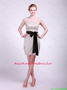 Cheap Beautiful Column Grey Homecoming Dresses with Sash and Ruching