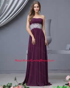 Cheap Beautiful Strapless Laced Homecoming Dresses with Brush Train