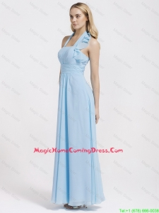 Cheap Gorgeous Halter Top Ruffles and Belt Baby Blue Homecoming Dresses for 2016
