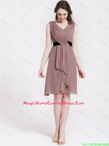 Cheap Perfect Short V Neck Ruching and Belt Homecoming Dresses in Brown for 2016