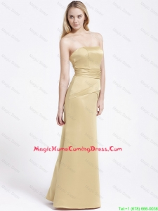 Formal Column Strapless Lovely Perfect Homecoming Gowns with Ruching