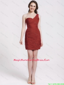 Gorgeous One Shoulder Ruching Short Lovely Perfect Homecoming Dresses in Wine Red