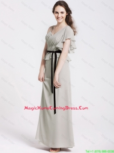 Latest Straps Sash and Ruchede Lovely Perfect Homecoming Gowns in Grey