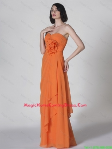 Popular Sweetheart Hand Made Flowers Lovely Perfect Homecoming Dresses in Orange