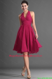 Pretty Luxurious Halter Top Wine Red Short Homecoming Dress with Ruching