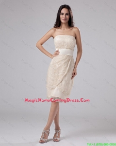 Pretty Strapless Laced and Belt Tea-length Homecoming Gowns in Champagne