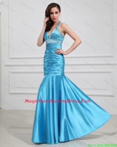Pretty Sweet Mermaid Halter Top Homecoming Dresses with Beading in Baby Blue