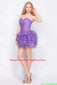 Pretty Sweetheart Lavender Short Homecoming Dresses with Ruffled Layers