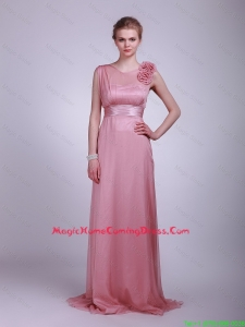 2016 Most Popular Hand Made Flowers and Belt Homecoming Dress in Pink
