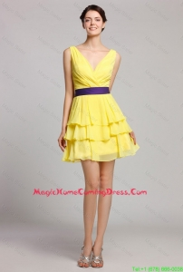 Best Selling Short V Neck Ruffled Layers Homecoming Gown in Yellow