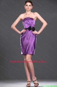 Delicate Eggplant Purple Short Homecoming Dress with Belt and Bowknot