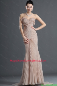 Gorgeous Mermaid Brush Train Pleats Homecoming Dresses in Champagne