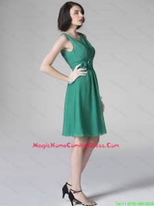 Hot Sale Scoop Green Homecoming Dresses with Hand Made Flowers