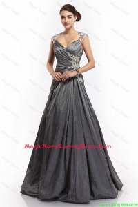 Latest A Line Straps Appliques Homecoming Dresses with Brush Train