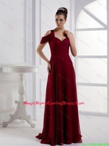 Fashionable Asymmetrical Brush Train Homecoming Dresses