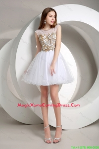 Popular A Line Beaded Mini Length Homecoming Dresses in White
