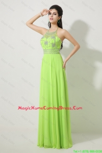 Pretty Halter Top Beaded Homecoming Dresses in Spring Green