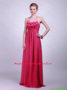 Pretty Halter Top Brush Train Vintage Homecoming Dresses in Hot Pink