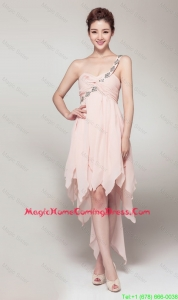 2016 New Arrival High Low Baby Pink Vintage Homecoming Dresses with Appliques and Ruching