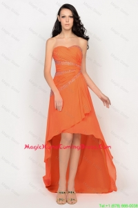 Beautiful High Low Orange Homecoming Dress with Beading for 2016