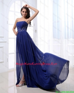 Gorgeous Beading Brush Train Strapless Homecoming Dresses in Royal Blue