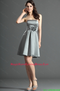 The Super Hot Short Silver Vintage Homecoming Dresses with Hand Made Flowers