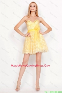Pretty Short Sweetheart Lace Homecoming Dresses with Belt