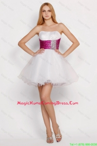 Pretty White Princess Short Homecoming Dresses with Beading and Belt