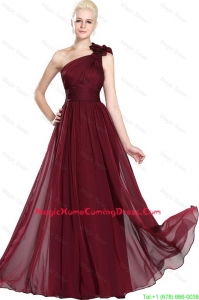 Beautiful Ruched Burgundy Homecoming Gowns with One Shoulder