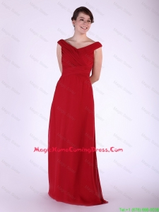 New Arrival V Neck Wine Red Long Homecoming Dress with Ruching