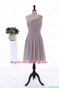 2015 Summer Empire One Shoulder Ruching Short Homecoming Dresses in Grey