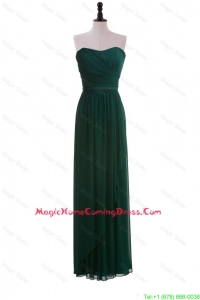 2016 Custom Made Empire Strapless Ruching Homecoming Dresses in Dark Green