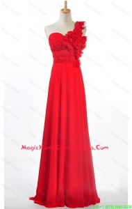 Custom Made Empire One Shoulder Homecoming m Dresses with Hand Made Flowers