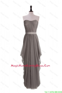 Discount Grey Long Homecoming Dresses with Ruching and Belt