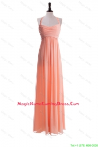 Exclusive 2016 Halter Top Long Homecoming Dresses in Watermelon
