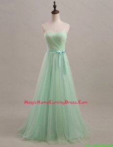 Exquisite 2016 Summer Apple Green Homecoming Dresses with Sweep Train