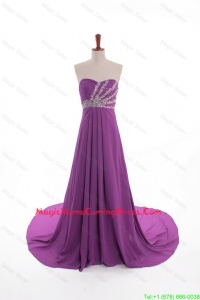 Fashionable Beaded Court Train Homecoming Dresses in Eggplant Purple