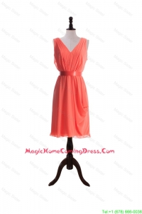Gorgeous Empire V Neck Homecoming Dresses with Sashes in Watermelon