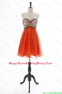The Brand New Beading Orange Red Short Homecoming Dress for 2016