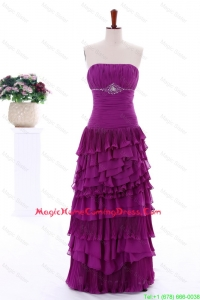 2016 Winter Popular Empire Strapless Beaded Homecoming Dresses with Ruffled Layers