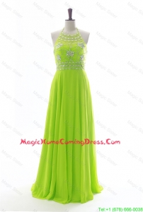 Brand New Halter Top Spring Green Long Prom Dresses with Beading