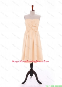 Discount 2016 Bowknot Peach Short Homecoming Dresses in Chiffon