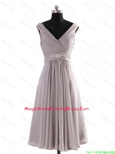 Most Popular V Neck Short Beading Grey Homecoming Dresses for Graduation